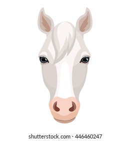 Vector white beautifull horse face icon
