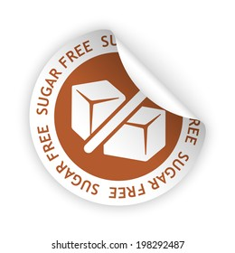 vector white bent sticker with symbol of sugar free