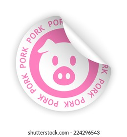 vector white bent sticker with symbol of pork meat