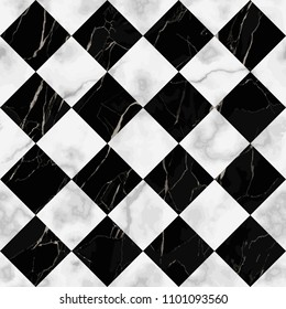 Vector white and black check marble seamless pattern. Repeat diagonal marbling surface, modern luxurious chessboard background, luxury wallpaper, textile print and tile.