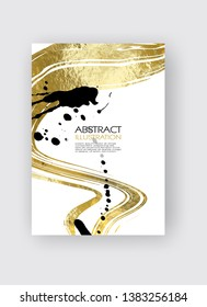 Vector White black and Gold Design Templates for Brochures, Flyers, Mobile Technologies, Applications, Online Services, Typographic Emblems, Logo, Banners. Golden Abstract Modern Backgro