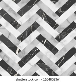 Vector white and black herringbone marble seamless pattern. Repeat diagonal rhombus marbling surface, modern luxurious chessboard background, luxury wallpaper, textile print, parquet and tile.