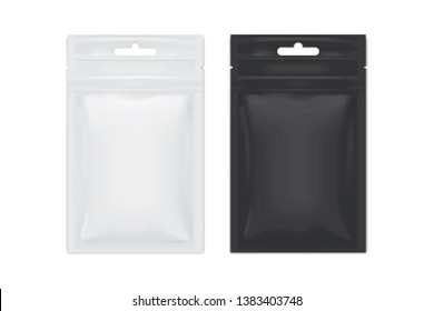 vector white and black packaging sachet on white background