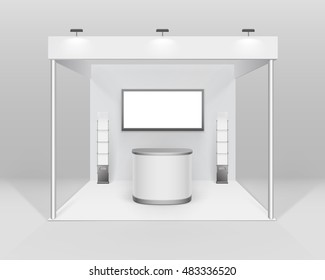 Vector White Blank Indoor Trade exhibition Booth Standard Stand for Presentation with Counter Spotlight Screen Booklet Brochure Holder Isolated on Background