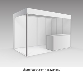 Vector White Blank Indoor Trade exhibition Booth Standard Stand for Presentation with Counter Isolated in Perspective on Background