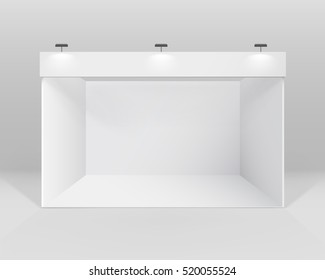 Vector White Blank Indoor Trade exhibition Booth Standard Stand for Presentation with Spotlight Isolated on Background