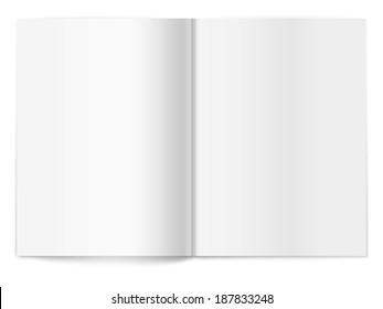 Vector white blank magazine spread on white background. Template for your design