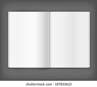 Vector white blank magazine spread on grey background. Template for your design
