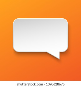 Vector white blank paper speech bubble on orange gradient background. Realistic 3d illustration. Rectangle shape. Template for your design.