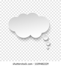 Vector white blank paper speech bubble on transparent background. Realistic 3d illustration. Cloud shape. Template for your design.