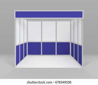 Vector White Blue Blank Indoor Trade exhibition Booth Standard Stand for Presentation Isolated with Background