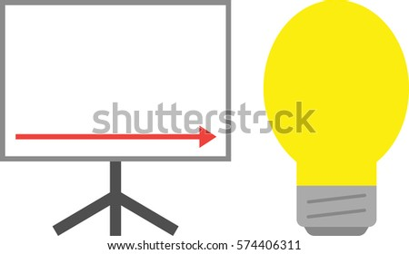 Vector White Board Red Arrow Pointing Stock Vector Royalty Free