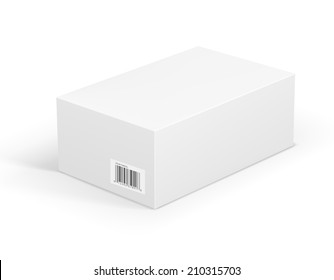 Vector white box with bar code label isolated on white.