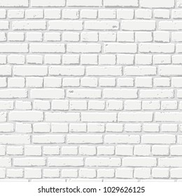 Vector white brick wall seamless texture. Abstract architecture and loft interior, background.