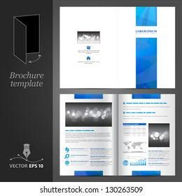 Vector white brochure template design with blue stripe. EPS 10