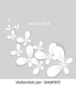 Vector white butterflies on a gray background