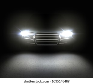 Vector white car headlights. Headlamp glowing effect with reflects on asphalt. Isolated on black background