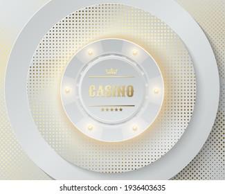 Vector white casino poker chip luminous light elements. White round geometric background, golden glitter dots. Blackjack or online casino web banner, logo or icon