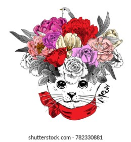 Vector white cat with bow and wreath. Hand drawn illustration of dressed cat.