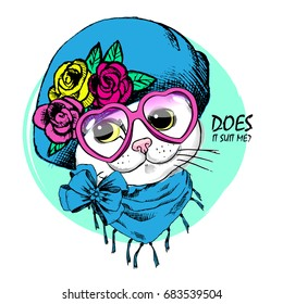 Vector white cat with pink bow and green glasses. Hand drawn illustration of kitten.