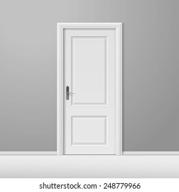 vector white closed door with frame isolated on background