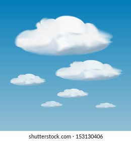 vector of white clouds on blue sky