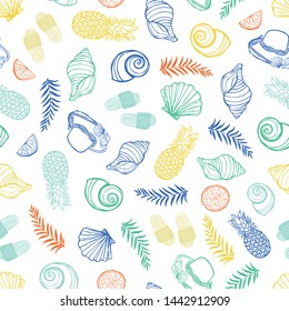 Vector white colorful tropical beach pattern with seashells, pinapples and hats. Perfect for fabric, scrapbooking, wallpaper projects.