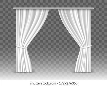 Vector white curtains isolated on transparent background. Realistic mockup curtains hanging on metal  rod