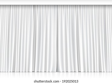 Vector White Curtains Isolated On Background