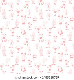 Vector white cute anthropomorphic cartoon characters in beautiful peach seamless pattern background