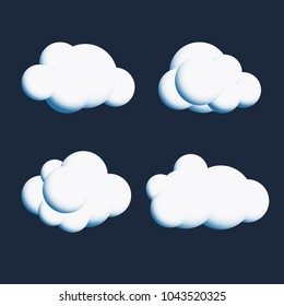 Vector White Cute Cloud Collection - Simple Cloud Set for Weather Forecast and Other Design Project
