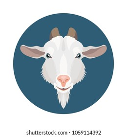 Vector white dairy goat face flat round icon farm animal milk illustration
