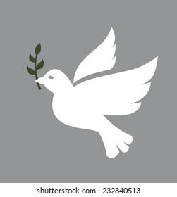 vector white Dove icon on white background