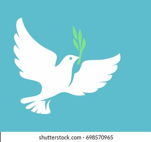 vector white Dove icon on blue background