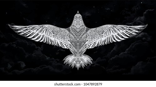 Vector white eagle in the night sky under moonlight.Sketch of swallow for tattoo art. Vector isolated illustration. Swift. Detailed hand drawn bird. Print for t-shirt.