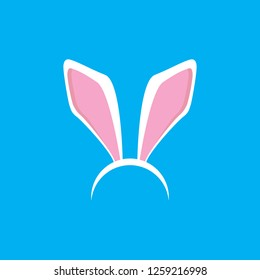 Vector white easter bunny funky mask with rabbit ears isolated on blue background. Kids mask for easter party