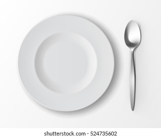Vector White Empty Round Soup Plate with Silver Table Spoon Top View Isolated on White Background. Table Setting