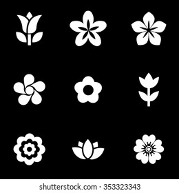 Vector white flowers icon set.