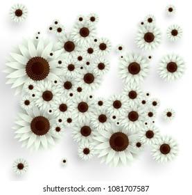 Vector white flowers illustration. 3D floral background. Spring print.