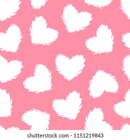 Vector white fluffy heart seamless pattern isolated on pink background. Cute moder design surface