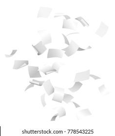 Vector white flying papers in the air isolated on white background