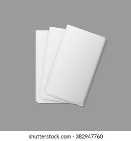 Vector White Folded Rectangular Napkins Top View Isolated on  Background. Table Setting
