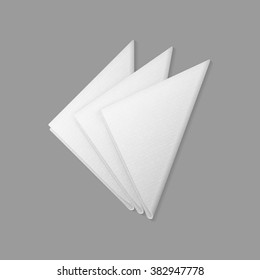 Vector White Folded Trianglular Napkins Top View Isolated on  Background. Table Setting