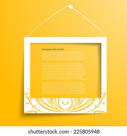 Vector white frames on the yellow wall. Picture frame and shadow with Floral ornament