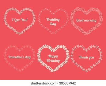 Vector white frames in shape of heart on pink background.