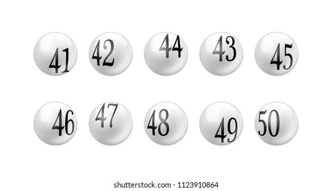 Vector white glossy spheres lotto balls with numbers isolated. Number from 41 to 50 Set.