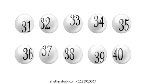 Vector white glossy spheres lotto balls with numbers isolated. Number from 31 to 40 Set.