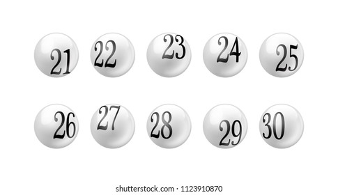 Vector white glossy spheres lotto balls with numbers isolated. Number from 21 to 30 Set.