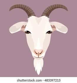 Vector white goat face farm animal zoo icon