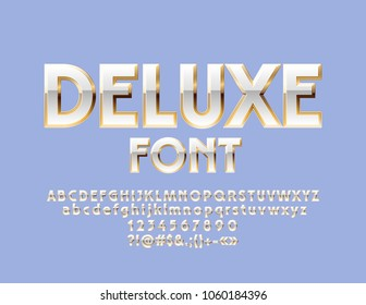 Vector White and Gold Deluxe Font. Elegant classic style Alphabet Letters, Numbers and Symbols